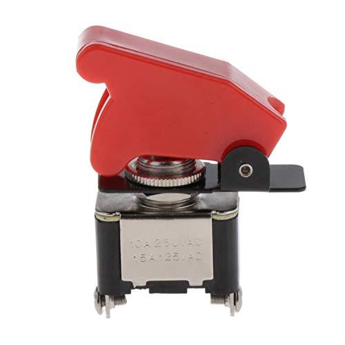 Almencla Interruptor basculante de Alta Resistencia 12V 20A Cubierta roja ON/Off 2Pin Coche camión Piezas de Barco
