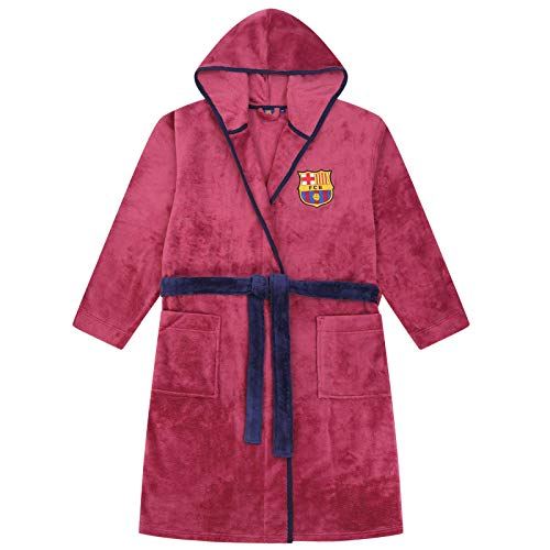 Barcelona FCB Bademantel mit Kapuze, für Jungen, Größen 3–12 Jahre Gr. 5-6 Jahre, burgunderfarben