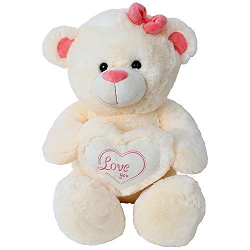 TE-Trend Riesen Teddybär Teddy Kuscheltier Plüsch Herz Kissen Bär Love You 50 cm Creme Beige