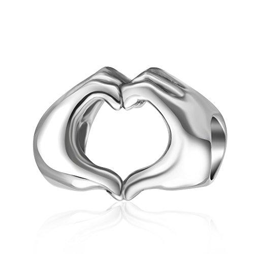 Charm, mani che formano un cuore, in argento Sterling 925, regalo romantico, per compleanno e San Valentino