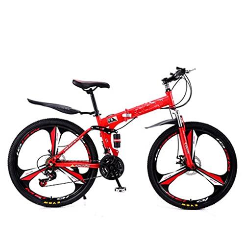 LYXQ Bicicleta Plegable Bicicleta Plegable 21-24 Velocidades Acero Al Carbono 24-26 Pulgadas Bicicleta De Montaña con Suspensión Completa (Color : Red 24 speed/24 Inch)