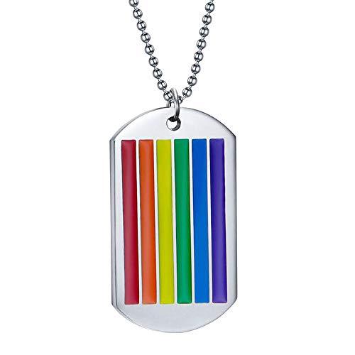 GUMONI - Collar con Colgante de arcoíris con Placa para Perros, de Titanio, Acero y epoxi, Longitud 60 cm