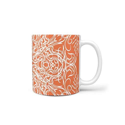 O5KFD&8 11 oz Orange Mandala Wasser Tee Becher Tasse mit Griff Keramik Unique Becher - beschaffenheit Urlaub Weihnachten Geschenk, Geeignet für Haus verwenden White 330ml
