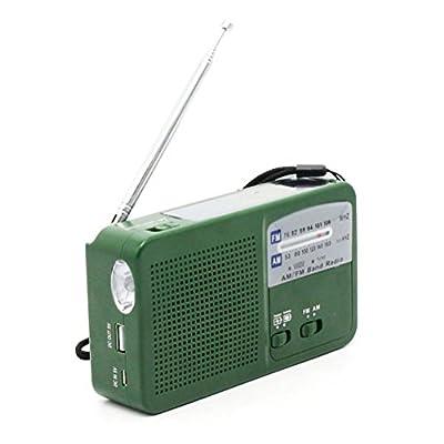 OMIU Portable Digital FM/AM Radio Solar Flashlight Crank Power Emergency Charger FM Radio Receiver with Flashlight