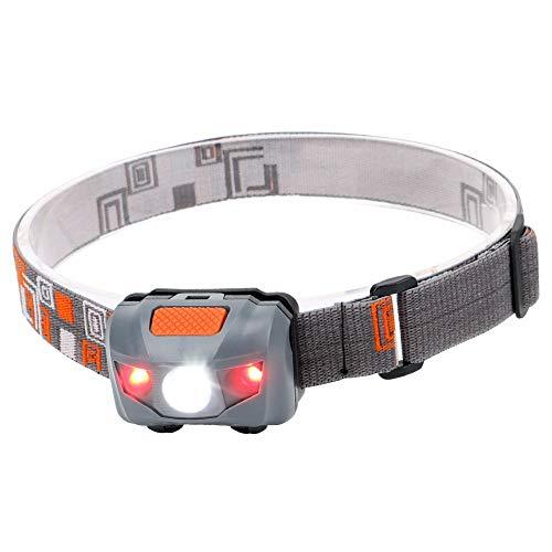 Linterna frontal LED, 4 modos, mini faro, faro exterior, resistente al agua, color rojo, linterna de advertencia de seguridad para ciclismo, pesca