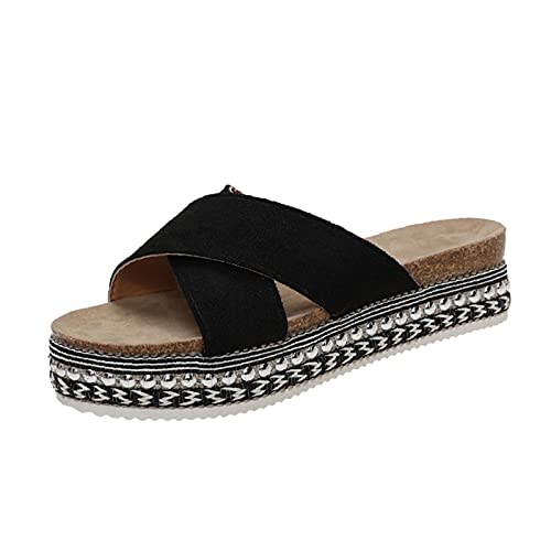 Orthopedic Sandals, Caged Wedge Sandals, Orthopedic Summer Sandals for Women (Black,5.5)