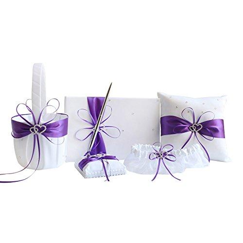 Juego de bodas de 5 piezas con libro de invitados y bolígrafo, cesta de flores, almohadilla para anillos y liga, color morado