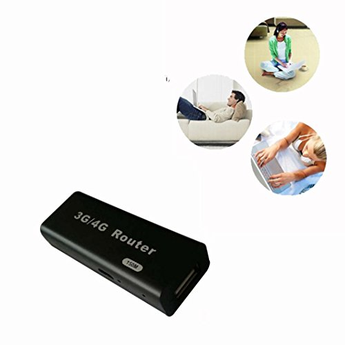Amison Mini 3G / 4G WiFi Wlan Hotspot AP cliente RJ45 USB Router inalámbrico 150Mbps (negro)