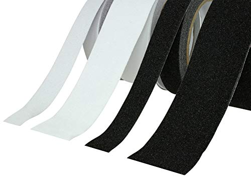 Antislip tape | plakband antislip PVC | zwart of transparant, 25 mm of 50 mm, 5 m of 10 m extra grip - grote keuze, 5M x 25mm, zwart, 1