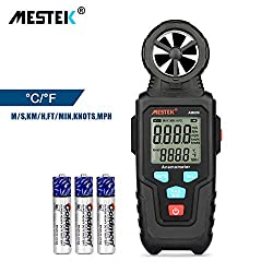 Digital Anemometer Wind Speed Meter MESTEK Air Volume Measuring Gauge Handheld with Backlight LCD Display Data Hold Battery Max/Min for Outdoor Home Office Shooting Gift