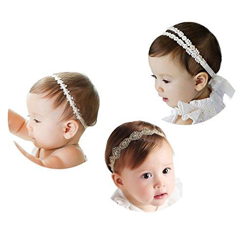 COUXILY 3 Stk Stirnbänder Baby Mädchen Lace Chiffon Kunstleder Gummiband Haarband (3 - C03)