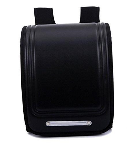 Kinder-Schulrucksack im klassischen japanischen Stil von Yaagle, aus PU-Leder, große Schultasche für Jungen und Mädchen, schwarz (Schwarz) - Backpack9015-Black