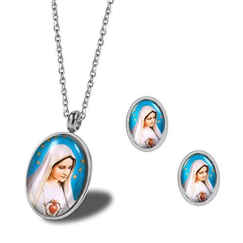 Burenqi Conjuntos de Joyas de Acero Inoxidable Virgen María Corazón Bendecido Iglesia Religiosa Collar y aretes Mama Mary Más,Plata