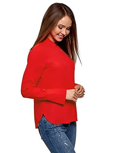 oodji Ultra Damen Lässige Bluse aus Fließendem Stoff, Rot, DE 38 / EU 40 / M