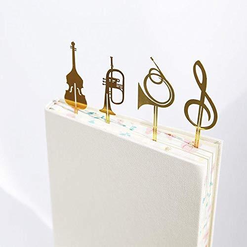 4 puntos de libro de acero inoxidable bañado en oro de 18 quilates con formas de instrumentos musicales Amupper