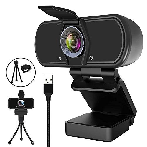 Webcam HD 1080P HD Web Camera, USB PC Computer Webcam with Privacy Cover, Tripod for Live Streaming, Video Chat, Conference, Recording, Online Classes, Game, Bulit in Microphone