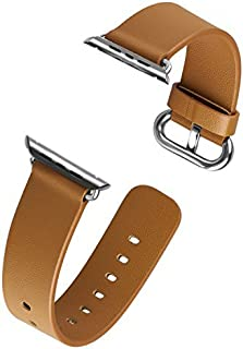 J&D Replacement Band Compatible for Apple Watch 38mm Series 4/3/2/1 Band, [Modern Series] Genuine Leather Strap Wrist Band Replacement w/Metal Clasp Adapter Compatible for Apple Watch 38mm Wristbands