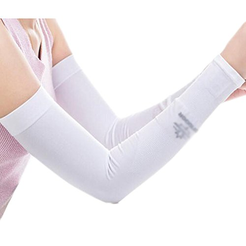 Black Temptation Unisex Outdoor Sunscreen vêtements Bras Soins de la Peau Respirant Cyclisme Soleil Manches de Protection - Blanc
