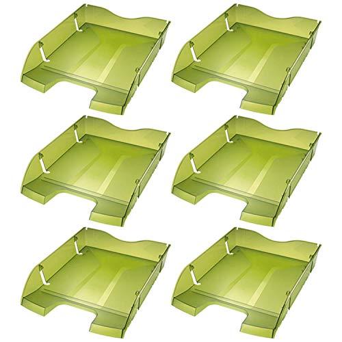 Helit H2363550-6 - Vaschetta portacorrispondenza PET A4-C4'the green deck', 6 pezzi, colore: Verde trasparente