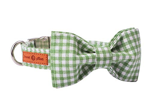 lionet paws Hundehalsband mit Fliege, Langlebiges Bequemes Baumwolle Halsband mit Metall Steckverschluss für Hunde und Katzen, Hals 25-40cm