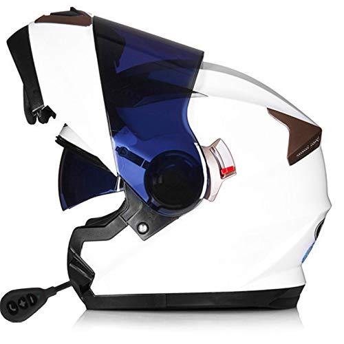 STRTG Casco Bluetooth Integrado para Motocicleta Radio Intercomunicador Casco abatible para Motocicleta con Lente Doble antivaho Cálido Duro para Respuesta automática Certificado ECE A,XL
