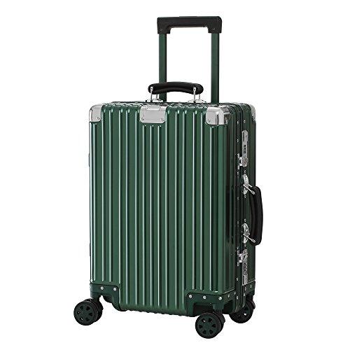 TABITORA(タビトラ) スーツケース マグネシウムアルミニウム合金 8輪 耐衝撃 キャリーケース TSAロック搭載 旅行用品 ファスナーレス 超軽量 鏡面 アルミフレーム(グリーンSS)
