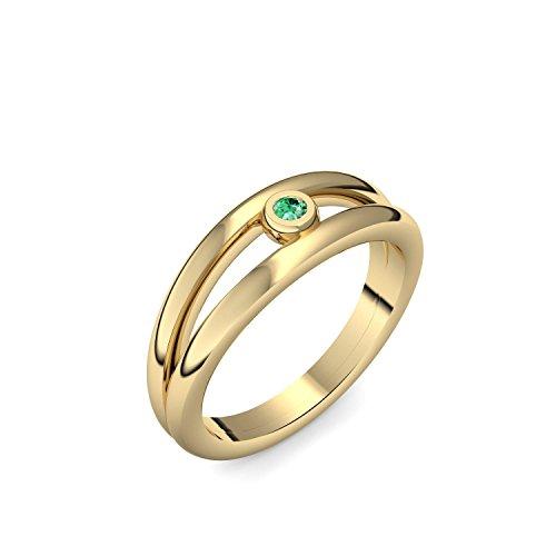 Goldring Smaragd 585 + inkl. Luxusetui + Smaragd Ring Gold Smaragdring Gold (Gelbgold 585) - Glamourise Amoonic Schmuck Größe 54 (17.2) AM141 GG585SMFA54