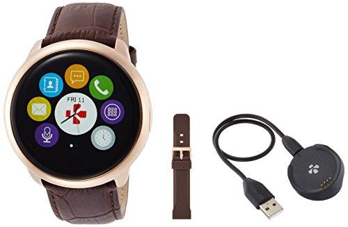 MYKRONOZ Smartwatch Fitnesstracker ZeRound Premium mit Lederarmband, braun (KRZEROUND-PREM-LEA-GOLD)