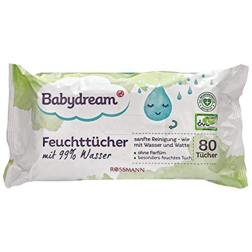 Babydream Feuchttücher mit 99% Wasser 160 Stück 2x 80 Tücher sanfte Reinigung - wie mit Wasser & Watte, ohne Parfüm, besonders feuchtes Tuch, vegan