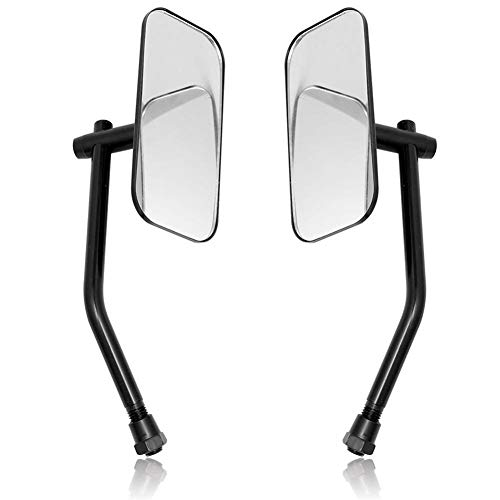 reflector de luz de espejo de motocicleta Motocicleta universal del corredor del café retro del rectángulo espejos retrovisores 10MM for Harley Honda Yamaha Suzuki crucero Bobber (Color : Black)