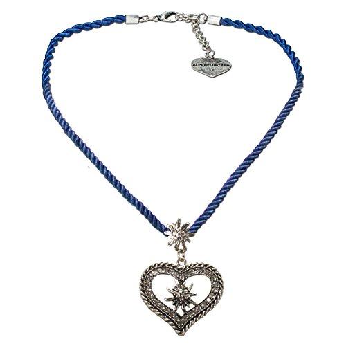 Alpenflüstern Kordel-Trachtenkette Strass-Edelweiß Herz - Damen-Trachtenschmuck mit Trachtenherz, Dirndlkette blau DHK216