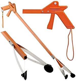 ArcMate Orange-U-Tongs PRO Grade Litter Pick up Tool, Elastic Lanyard, Suction Cup Reacher Grabber for Indoor or Outdoor Use, 33