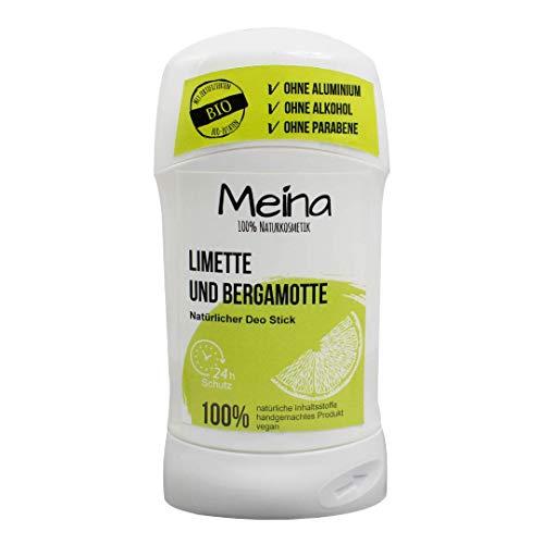 Meina Natuurcosmetica - Deo Stick zonder aluminium met limoen en bergamot (1 x 75 g) Bio Deodorant voor dames en heren - veganistisch, alcoholvrij, handgemaakt - 24 uur Bescherming
