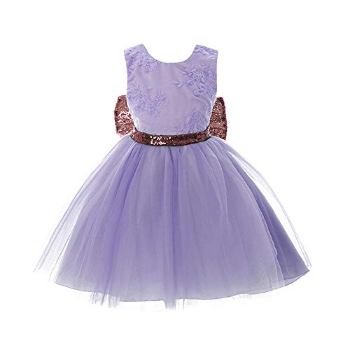 Inlefen Girls Bowknot Lace Princess Skirt Summer Lentejuelas Vestidos para bebés niños pequeños 0-5 años de Edad Verde Claro 100/2-3years