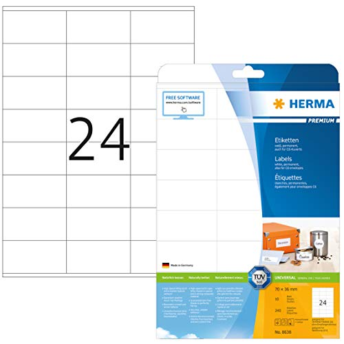 HERMA 8638 Adressaufkleber DIN A4 (70 x 36 mm, 10 Blatt, Papier, matt) selbstklebend, bedruckbar, permanent haftende Universal Etiketten, 240 Klebeetiketten, weiß