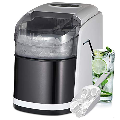 Counter top Ice Maker Machine with Self-Cleaning- 2 Size Bullet Shaped Ice,9 Cubes Ready in 6-8 Minutes,26LBS/24H-with Ice Scoop and Basket,for Home/Kitchen/Bar/Office (Stainless Silver)