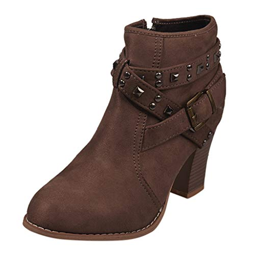 Kurze Stiefel Damenschuhe runder Kopf Leder Reißverschluss Niet High Heel Baumwolle Stiefeletten Damenschuhe 35-43