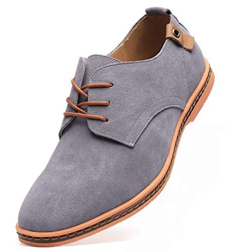 Dadawen Men's Grey Leather Oxford Shoe - 11 D(M) US