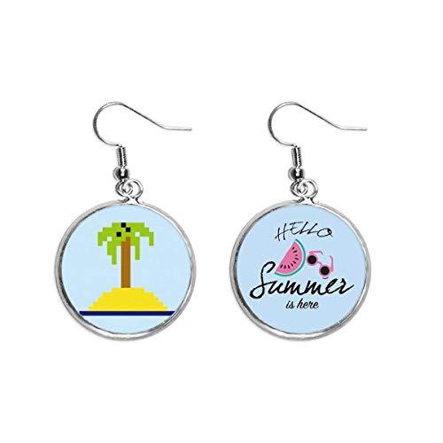 Summer Sail Coconut Tree Pixel Ear Drop Verano Sandía Pendiente Desgaste