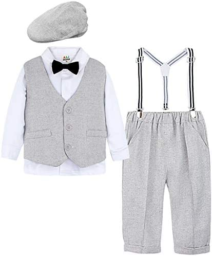A J DESIGN Toddler Boys Bowtie Gentleman Outfit Set with Flat Hat Light Gray 3T product image