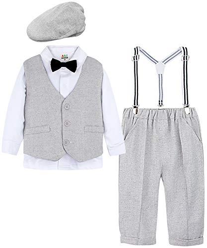 mintgreen Baby Junge Kleidung Anzug Set mit Hut, Hellgrau, 1-2 Jahre (Herstellergröße : 90)