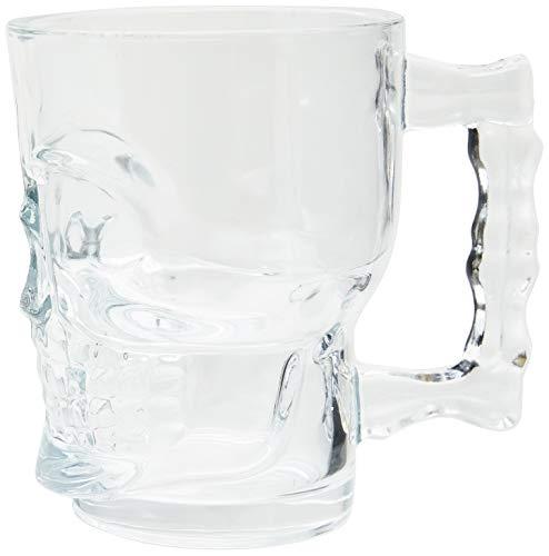 Caneca para Chopp e Cerveja de Vidro Caveira Rock Style Lyor Transparente, 510 ml