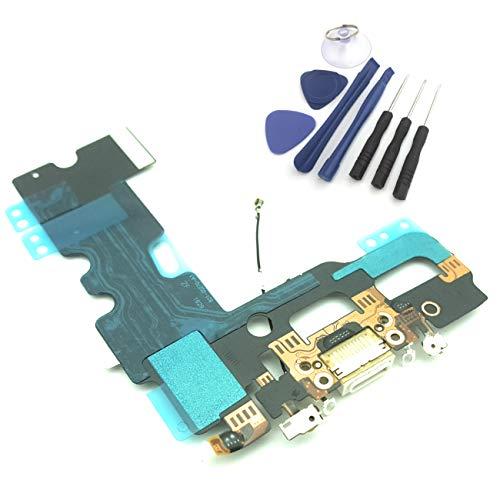 enoaFIX Dock Connector kompatibel mit iPhone 7 Ladebuchse inklusive Lightning Anschluss, Mikrofon und Antenne in weiß + Werkzeug Set