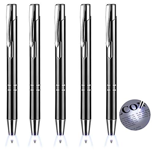 Lighted Tip Pen Flashlight Writing Ballpoint Pens LED Penlight Light Up Pen with Bright White Light for Writing in the Dark (5 Pieces)