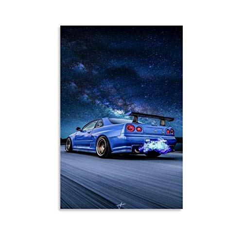 YONGTAO Car Poster JDM Skyline GTR R34 Blue Canvas Art Poster and Wall Art Picture Print Modern Family Bedroom Decor Posters 08x12inch(20x30cm)