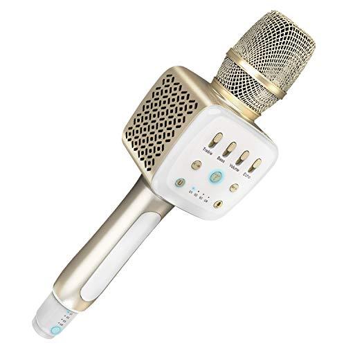 TOSING V2 Micrófono Karaoke Bluetooth,Microfono Inalámbrico 10W FM KTV 3 en 1,Max Over 100 sets Micrófonos Grupo Sing Disponible para Fiesta de cumpleaños/Navidad/Año Nuevo (Champagne Golden)