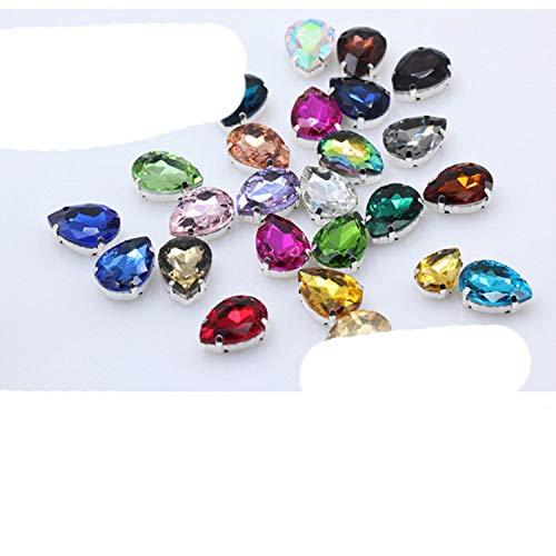 OQQE 4-40MM 24 Colores Coser en Gotas de Agua Diamantes de imitación Cristal Plata Garra botón lágrima para joyería/Vestido de Boda Bolso Adornos DIY