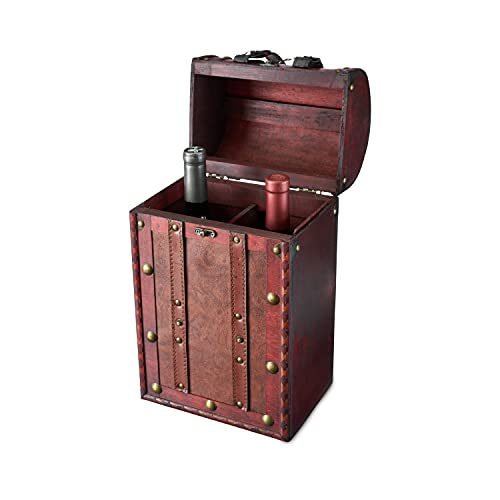 Twine Antique 2 Bottle Wooden Decorative Wine Box with Lid and Handle, Wine Accessory Sets, Wood, Faux Leather, Brass Accents