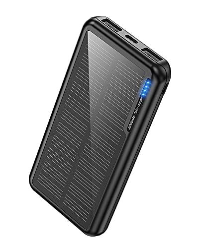 Power Bank Solaire 20 000 mAh, chargeur solaire portable avec 2 sorties USB et entrée USB-C Micro USB, camping batterie externe compatible avec iPhone Samsung Huawei tablette smartphone