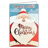 Photo de Afie Carte Joyeux Noël Merry Christmas Tête Père Noël Petit Papa Noël Chapeau Bonnet Pompon Moustache Barbe Flocons Neige Montagne Rouge Brillant